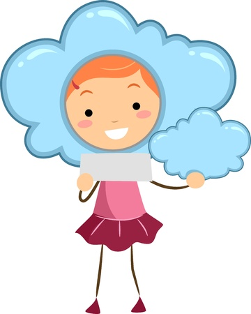 Illustration of a Kid Holding Blank Note Representing a Cloudy Weather Reklamní fotografie