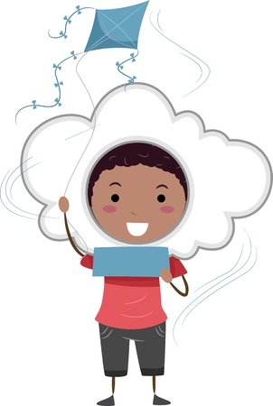 breezy: Illustration of a Kid Holding Blank Note Representing a Windy Weather