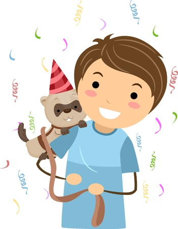 Illustration of a Kid Celebrating the Birthday of His Pet Ferret Stock Illustration - 10192130