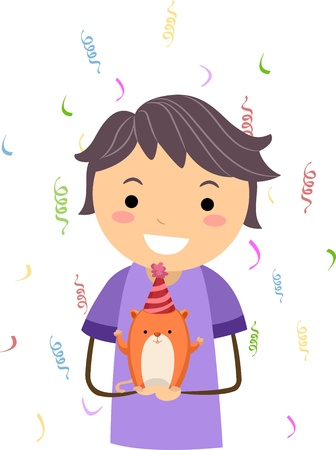 Illustration of a Kid Celebrating the Birthday of His Pet Hamster Stock Illustration - 10192122