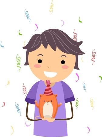 Illustration of a Kid Celebrating the Birthday of His Pet Hamster Stock Illustration - 10192122