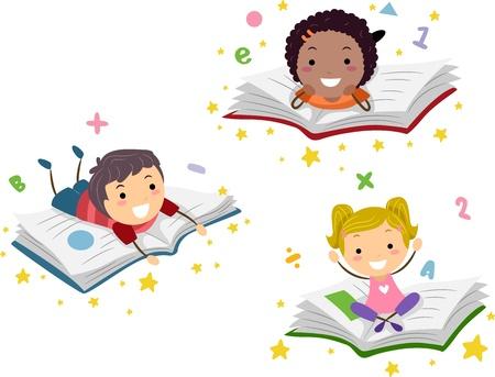 early learning: Ilustraci�n de los ni�os en libros Foto de archivo