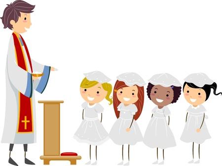 prima comunione: Illustrazione di ragazze in procinto di ricevere la Prima Comunione