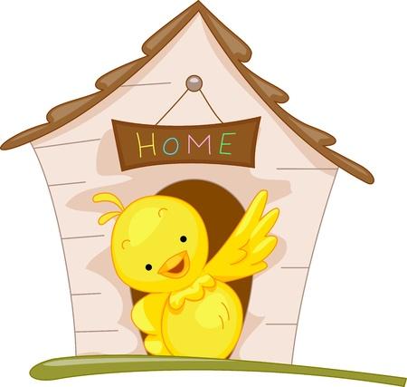 pajaro caricatura: Ilustraci�n de un p�jaro posado fuera de su casa Foto de archivo