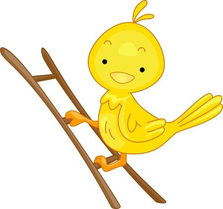 Illustration of a Bird Climbing a Ladder illustration