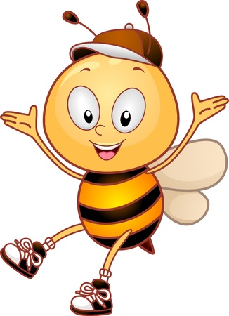 cute bee: Illustration of a Happy Bee