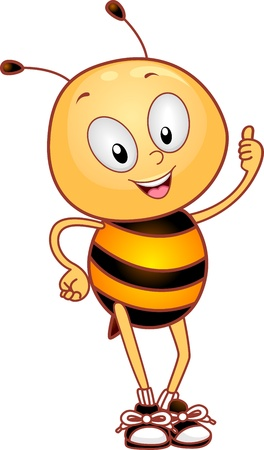 Illustration of a Bee Giving a Thumbs Up illustration