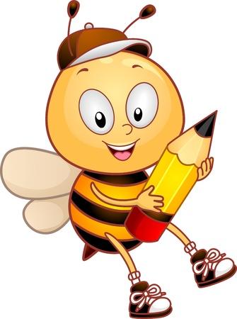 abeja: Ilustraci�n de una abeja con un l�piz