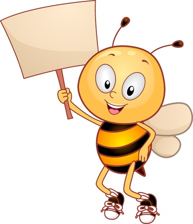 cute bee: Illustration of a Bee Holding a Placard