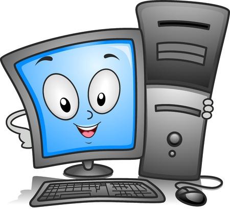 computadora caricatura: Ilustración de un equipo Monitor celebrar una CPU cerrar