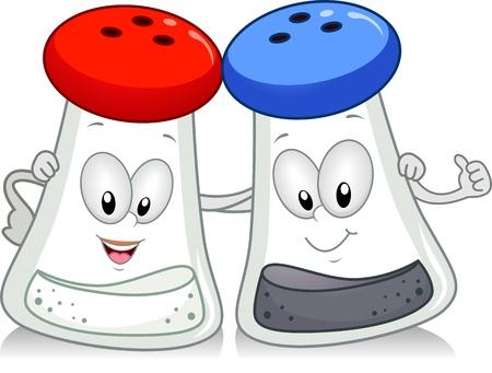 salt: Illustration of a Salt and Pepper Shaker Hanging Out Together
