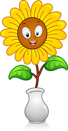 Illustration of a yellow flower in a Flower Vase illustration