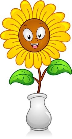 flower vase: Illustration of a yellow flower in a Flower Vase