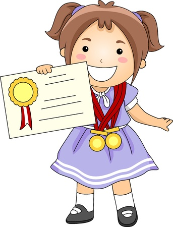 reconocimiento: Ilustración de un niño con un certificado