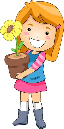 Illustration of a Kid Holding a Flower Pot