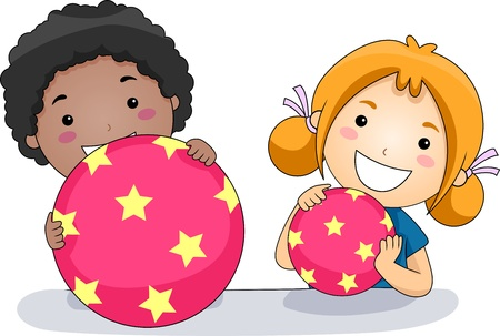 preschooler: Illustration of Kids Playing with Balls
