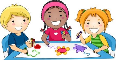 niños dibujando: Ilustración de niños dibujo