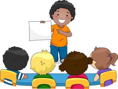 leccion: Ilustración de un niño presentar algo a sus compañeros de clase Foto de archivo