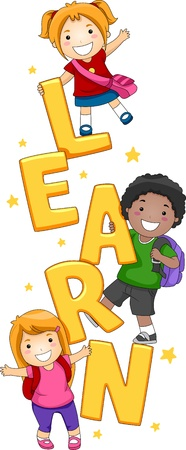 escuela caricatura: Ilustraci�n de ni�os posando con la palabra aprender Foto de archivo