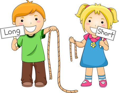 comparing: Illustration of Kids Comparing Ropes