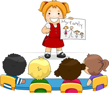 classmate: Illustration of a Kid Showing a Drawing of Her Family