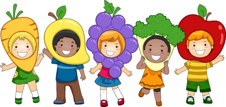 theatrical: Illustration of Kids Dressed as Fruits and Vegetables