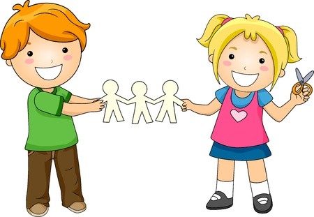 Illustration of Kids Playing with Paper Dolls Stock Photo