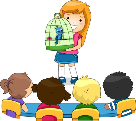 classmate: Illustration of a Kid Showing Her Pet to Her Classmates