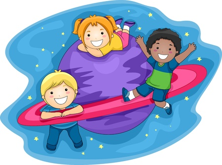 Illustration of Kids Playing in the Outer Space illustration