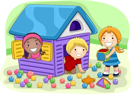 cartoon kids: Illustration of Kids Playing in a Playhouse