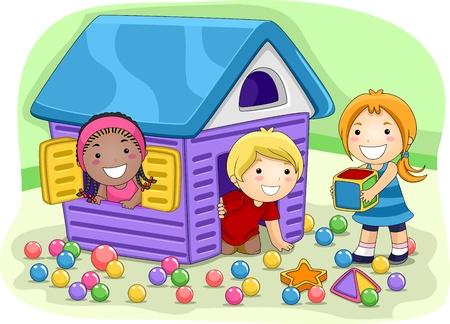 playmates: Ilustración de niños jugando en un Playhouse