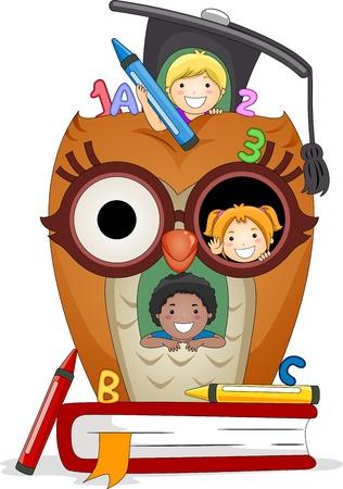 playmates: Ilustraci�n de ni�os jugando en una casa de Owl Foto de archivo