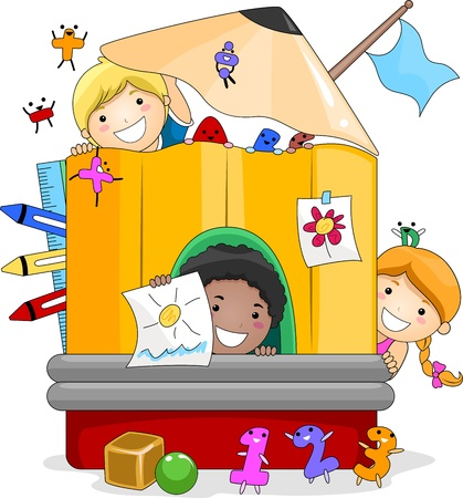 niños jugando en la escuela: Ilustración de niños jugando dentro de un lápiz gigante Foto de archivo