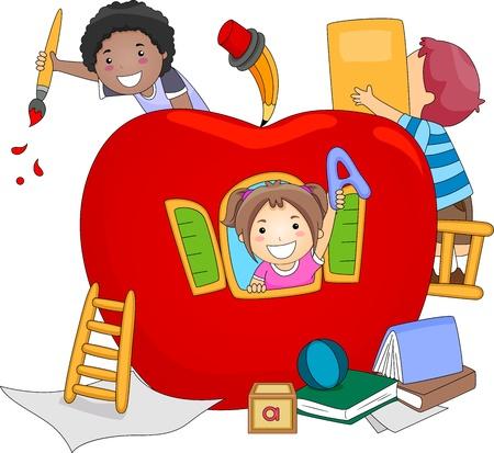 ni�os jugando en la escuela: Ilustraci�n de ni�os jugando dentro de un gigante Apple Foto de archivo