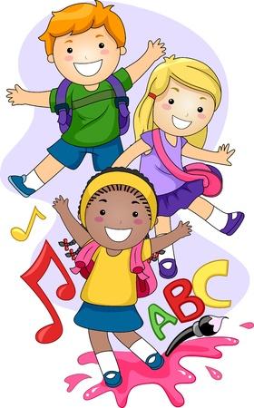 ni�os jugando en la escuela: Ilustraci�n de los ni�os de preescolar jugando