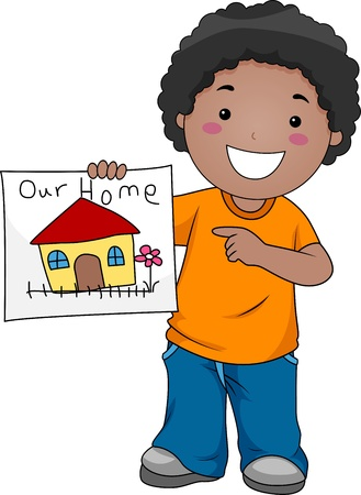 clip art people: Illustration of a Kid Showing a Drawing of Their Home