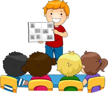 escuela caricatura: Ilustración de un chaval mostrando un álbum de fotos de su familia