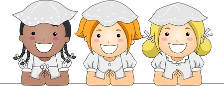 niño orando: Ilustración de niños tener su primera comunión