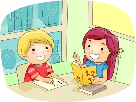 Illustration of a Kid Tutoring Her Friend Stock Photo