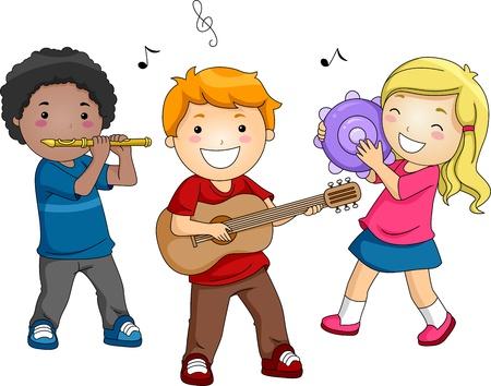 pandero: Ilustración de niños tocando diferentes instrumentos musicales