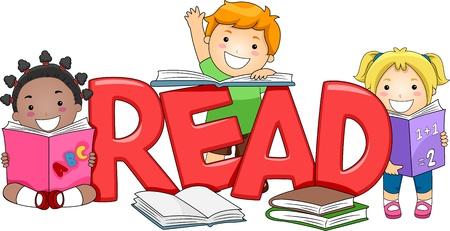 niños leyendo: Ilustración de chicos leyendo libros diferentes