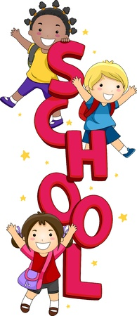 children school clip art: Illustration of Kids Posing with the Word School Stock Photo