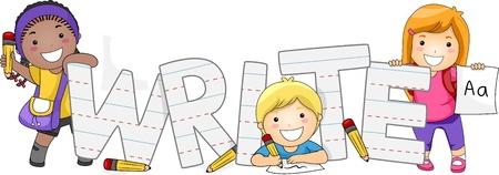 persona escribiendo: Ilustraci�n de los ni�os a aprender a escribir Foto de archivo
