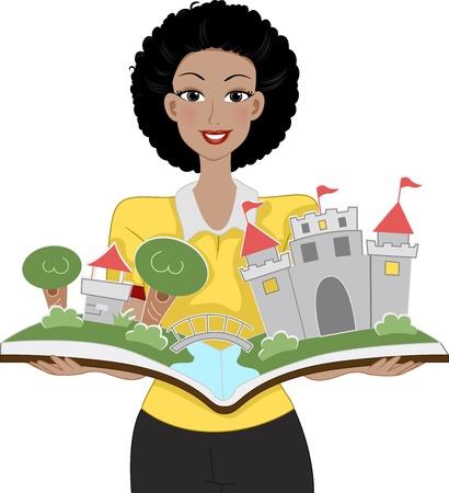 maestra preescolar: Ilustración de un profesor sosteniendo un libro