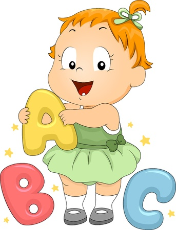 toddler playing: Illustration of a Toddler Playing with Letter-Shaped Objects Stock Photo