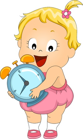 Illustration of a Toddler Carrying an Alarm Clock illustration
