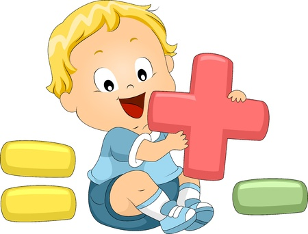 plus minus: Illustration of a Toddler Playing with Mathematical Symbols Stock Photo