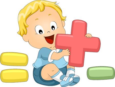 simbolos matematicos: Ilustración de un niño jugando con símbolos matemáticos Foto de archivo