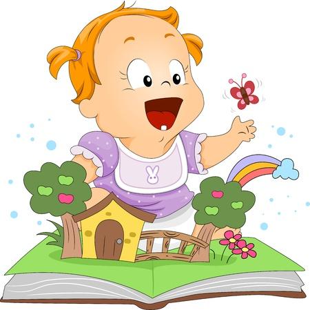 nursery education: Ilustraci�n de un ni�o jugando con un Pop Up libro