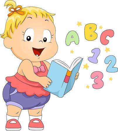 nursery education: Ilustraci�n de un ni�o leyendo un libro